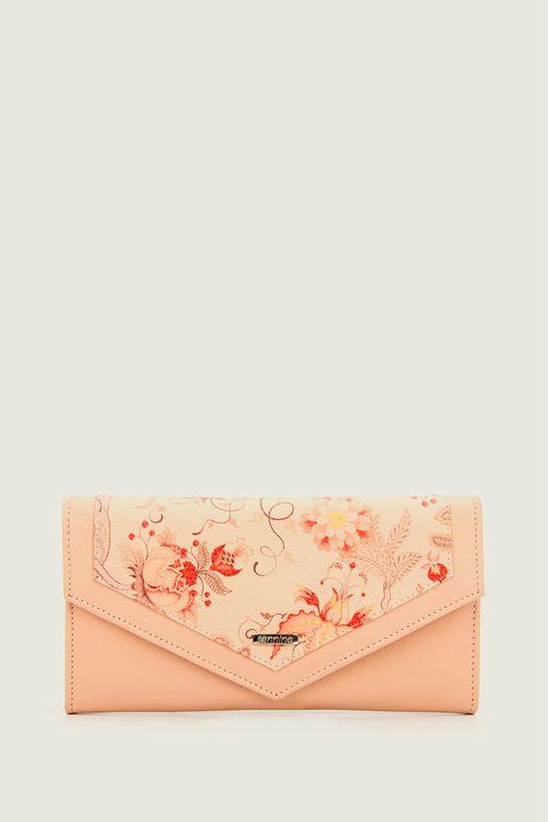 Billetera porta chequera cuero estampado floral