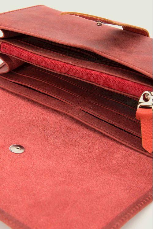 Billetera porta chequera cuero liso contraste