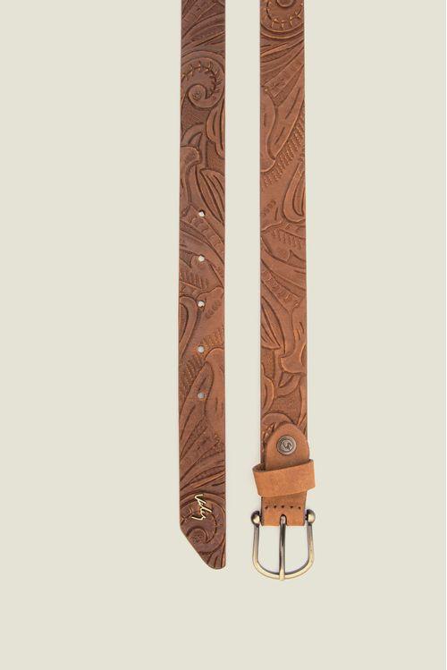 Cinturón unifaz Flora de cuero para mujer