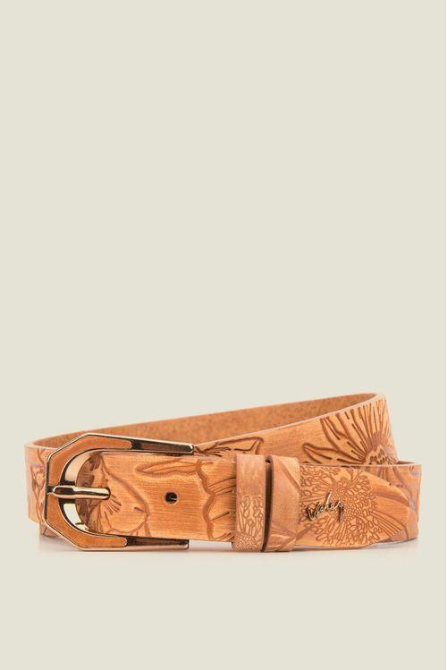 Cinturón unifaz Coralino de cuero para mujer