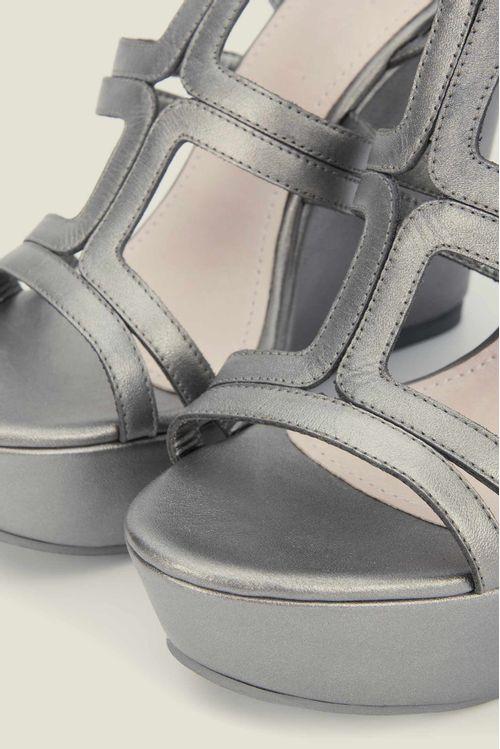 Sandalias plataforma Merlot de cuero para mujer