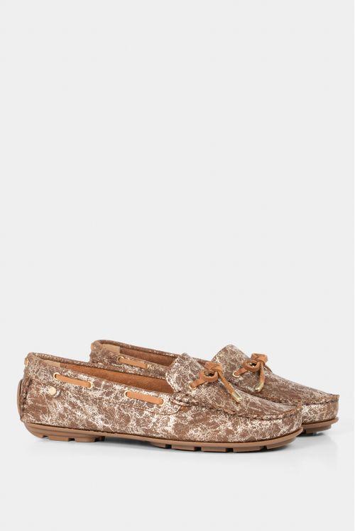 Zapatos tipo mocasin para mujer en cuero vintage folia