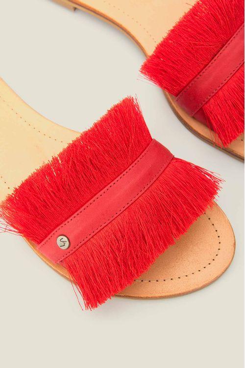 Sandalias planas feather con cuero