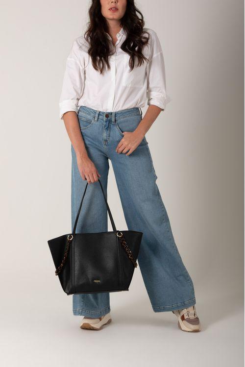 Bolso tipo shopping con cadenas para mujer en sintetico