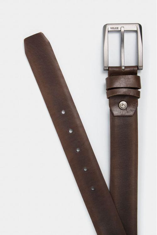 Cinturón unifaz de cuero vintage para hombre doble pasador