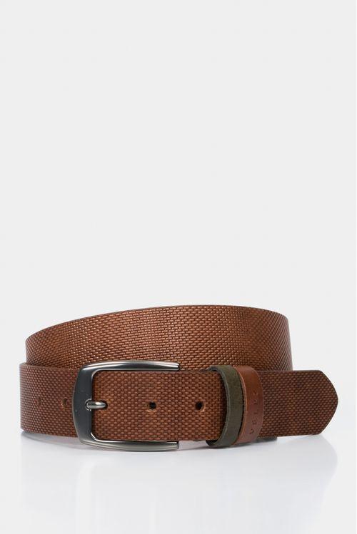 Cinturón unifaz de cuero grabado