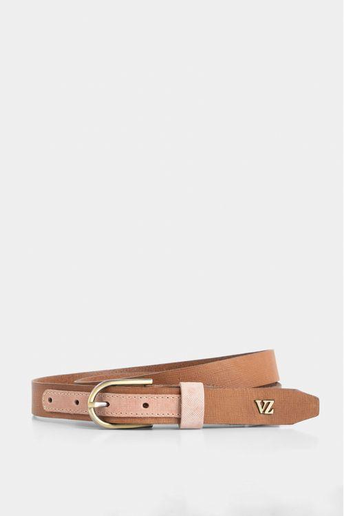 Cinturón unifaz de cuero texturas contrastes