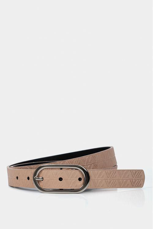 Cinturón doble faz de cuero liso para mujer texturas